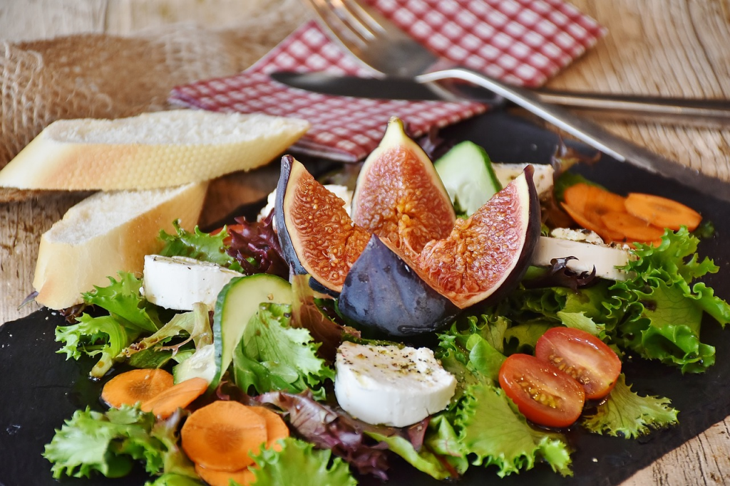 salad and figs